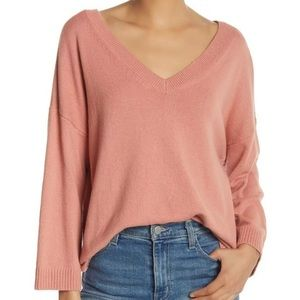 Madewell XXL Pink Double V-Neck Pullover Sweater